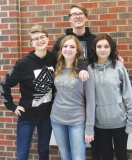 The leaders of the Columbus speech, drama, and debate team.  The state medalists are, from left: Susan Carrel, Josiah Forseth, Alli Onoszko, and Riley Onoszko.