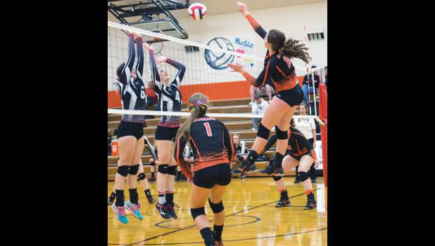 Husky senior Emma Chandler spikes the ball against Park City in the championship match on Oct. 31.