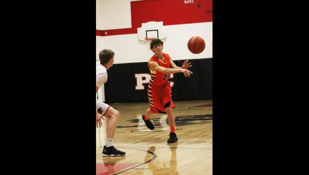 Absarokee sophomore Ashton Campbell passes the ball last Saturday in Park City.