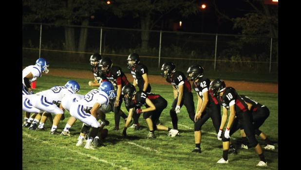 All eight Panther defenders crowd the line in their Oct. 1 Homecoming game against Lone Peak.