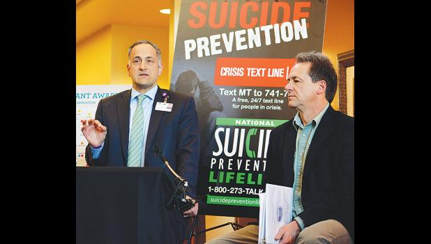 Billings Clinic Dr. Eric Arzubi (left) and Gov. Steve Bullock at the Stillwater Billings Clinic Wednesday afternoon.