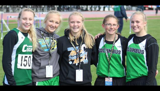 Members of the Cougar girls' track team hanging out at the state meet (from left): Camryn Ault, Brenna Rouane, Liz Lorash, Amber LeBrun, and RaiLeigh Strommen