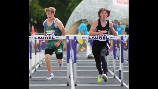 RPR's Jeremy Boatman (left) and Park City's Eli Larson compete side-by-side in the 110-meter hurdles. Larson finished the race in 18.68, and Boatman finished with a time of 19.47.