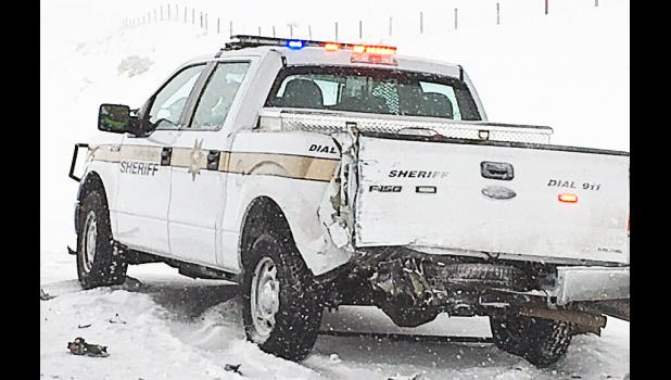 Stillwater County Sheriff's Deputy Ren Crain was rear-ended by another vehicle while in his patrol car conducting traffic control Wednesday morning on an accident scene on I-90. Crain was taken to the Stillwater Billings Clinic by ambulance and did not appear to suffer serious injuries.