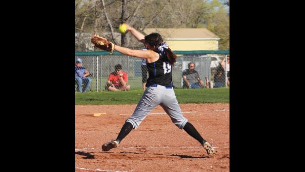 Renegade pitcher Hailee Gregerson winds up for a pitch.