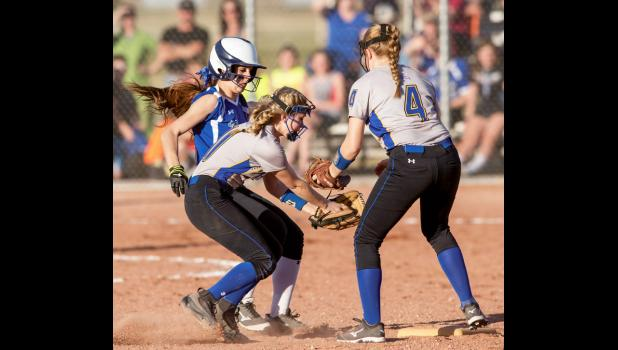 Renegade Maisey Sheppard makes it back safely to  second base against Lewistown.