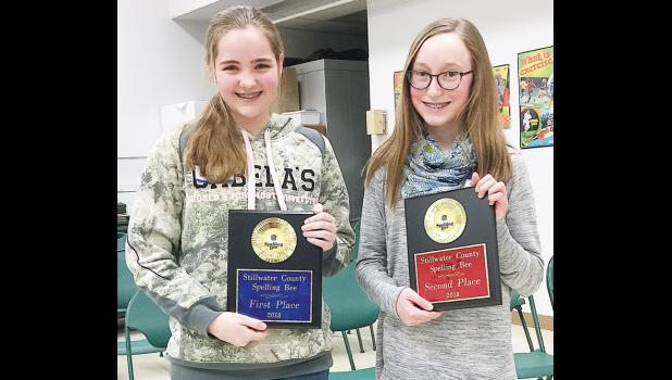 From the left: Stillwater County Spelling Bee Champion Andree Langley and runner-up Claire Hatch.