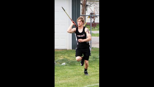 Park City senior Connor Mary competes in the javelin.
