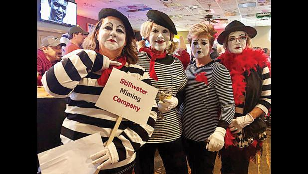 From the left: Kay Faust, Heidi Claunch, Sande Seibert and Sandra Counter in their awarding-winning costumes the Stillwater Miming Company.