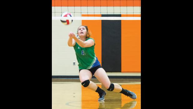 Reed Point-Rapelje's Nynah Bryant keeps her eye on the ball.