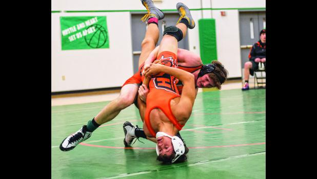 Absarokee senior Billy Raville at 152 pounds wrestling in Columbus against the Billings Schools on Jan. 28.