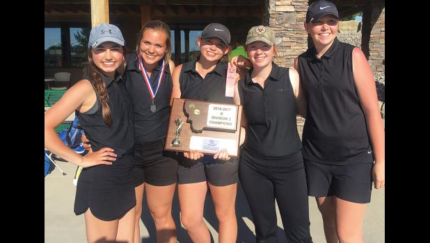 The divisional champs pose with their trophy.  From left: Karsen Marjerison, Olivia Hess, Bailey Johannes, Baylee Gordon and Chloe Ketchum.