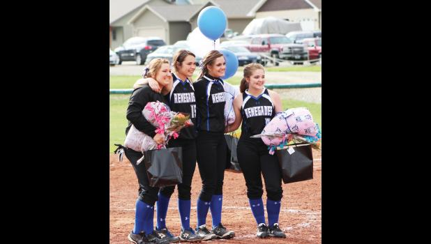 From the left, Mykaila Berry, Hailee Gregerson, Maisey Sheppard and Dani Hoover were recognized on Senior Night during the Skyview JV game.