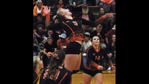 Absarokee Husky sophomore Kennedy Ekwortzel winds up to make a kill during the district tournament.