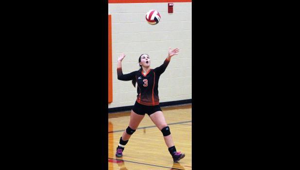 Hana Kelly serves the ball for Absarokee.