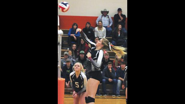 Park City Panther Alyx Grabowska hits the ball over the net during the district tournament as Blakely Verke and the Park City student section look on.