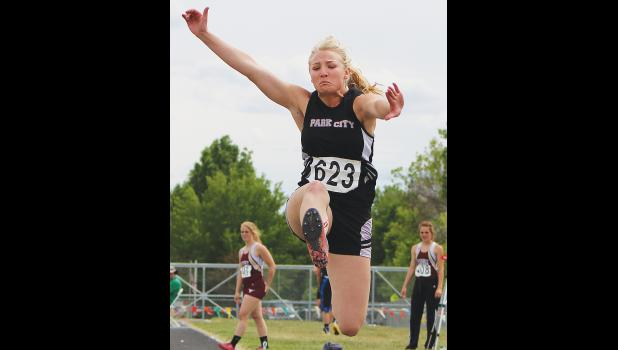 Park City's Rayna Laakso competes in long jump last Friday.