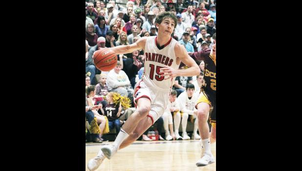 Park City junior Connor McNeil takes the ball to the basket against Bridger in the championship game last Saturday.