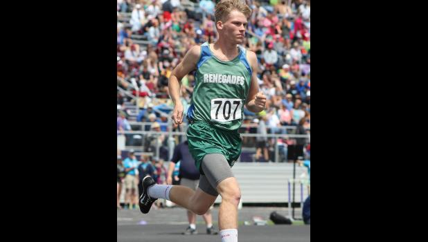 RPR's Willem Steinfeldt runs in the 1,600-meter race at state.  He finished in 10th.