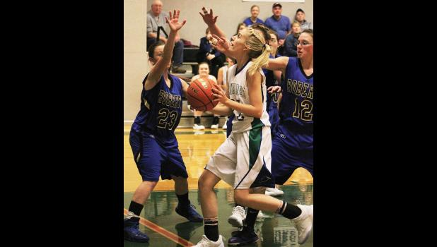 Renegade freshman Abby Knoll looks for a shot against the Roberts Rockets.