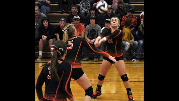 Absarokee senior Emma LaMoure bumps the ball during the district tournament.