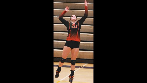 Absarokee's senior Rebecka Lester prepares to kill the ball against Roy-Winifred last week.