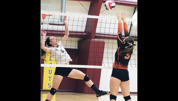 Hana Kelly jumps to block a ball sent over the net by a Bridger Scout.