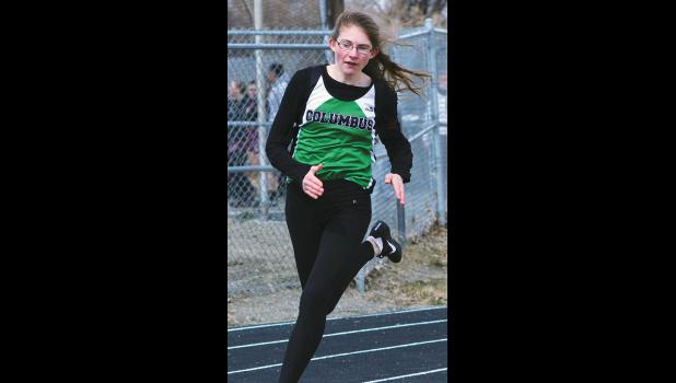 Columbus junior Amber LeBrun takes off at the beginning of the 200-meter race last Thursday.