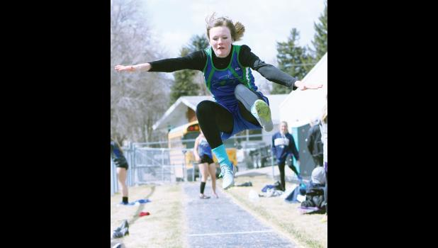 RPR Renegade Jocelyn Ott takes flight during the long jump competition last week.  The junior placed sixth in the event.