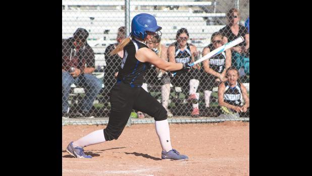 First baseman Kassidy Robbins gets a hit on Thursday.