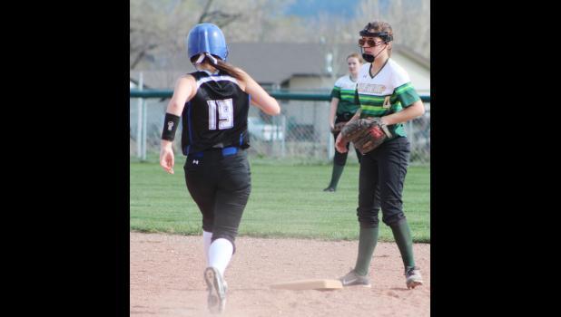 Left fielder Marissa Peters steals second base against the Colstrip Fillies.