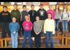 Absarokee Junior High School students who competed in the  Billings Clinic Science Expo on March 18 included, left to right, back row, Zacc Degele, Brandon South, Ashton Campbell, Christopher Pasecznyk, Hannes Chandler, Kaiya Holmquist, Maggie Howes and Kennedy Ekwortzel; front row, Colton Young, Andrew Espeland, Austin Grondin and Faith Holton. Not shown are Auddie Martin, Tymber Jensen and Peyson Acree.