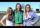 Rapelje's Global Marketing Team, from the left, sophomores Livvie Brubaker, Carlee Blodgett, and Lily Knoll. The group placed fourth at the BPA state conference.