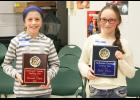 Pictured from left are Hannah Kimble and Claire Hatch, the top two finishers of the Stillwater County Spelling Bee.